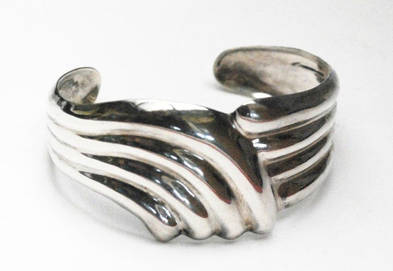 Mexico Sterling Cuff Bracelet  -Taxco - wide ribbed  wave  - Tribal boho bangle
