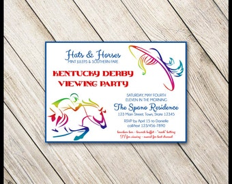 Kentucky Derby Invitations / DIY YOU PRINT 5x7 / Horse Race Betting Slips / Modern Colorful Hats & Horses / Preakness / Belmont Stakes