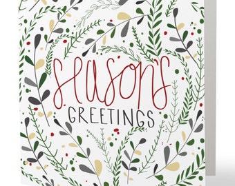 Season's Greetings Square Folded Cards