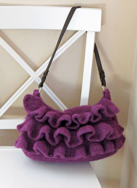 Knit Boho Ruffle Bag Pattern Felted Purse Knitting Pattern