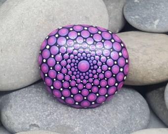 Pink Mandala Stone - Painted Rock - Painted Stone - Meditation Mandala Rock - Dot Art - Chakra - Paperweight - Galet Peinte