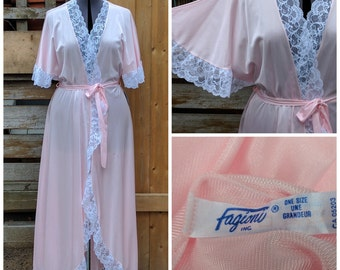 Vintage 1980's Full Length FAGIONI Pink Dead Stock / Never Used Nylon and Lace Dressing Gown / Robe / Night Gown