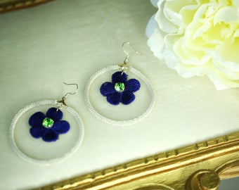 Hoop earrings with Swarovski elements Silver 925 hook and lace flowers