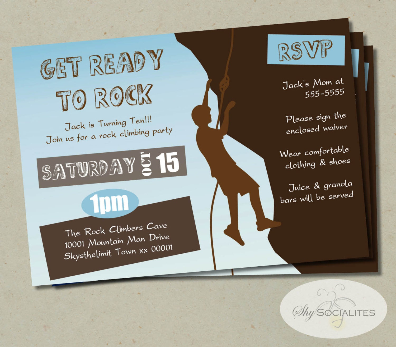 Rock Climbing Party Invitation Birthday Climb Climber