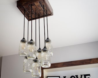 Mason Jar Chandelier **includes Edison bulbs!**