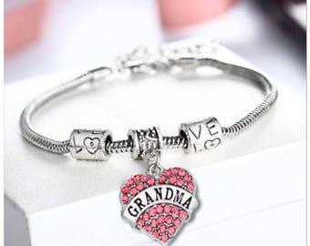Grandma pink rhinestone bracelet