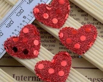 SET of 10 applique red sequin heart