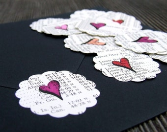 Hand Drawn Heart Stickers, Package of 20 Vintage Atlas Paper Heart Stickers, Envelope Seals, Scalloped Love Letter Stickers, Red Pink Peach