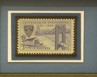 Honoring Engineering's Centennial - Vintage Framed Stamp - No. 1012