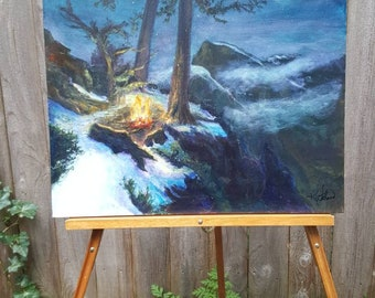 Mountain Fireside Oil Painting Signed