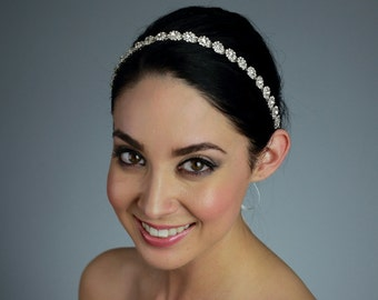 Wedding Rhinestone Headband Attached to a Pure Silk Ribbon in Ivory, White, or Black - Ships in 2-5 Business Days