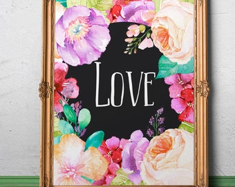 Love wall art Love printable art Love quote Love sign Love wall decor Love poster Love Valentine Gift Love watercolor Love Romantic  Gift