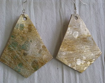 Leather Earrings Pierced or Clip on Gold silver white Double sided