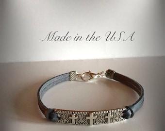 Cross bracelet Triple cross charm Religious jewelry Christian bracelet Gift for her Charm bracelet Friendship bracelet Cross jewelry