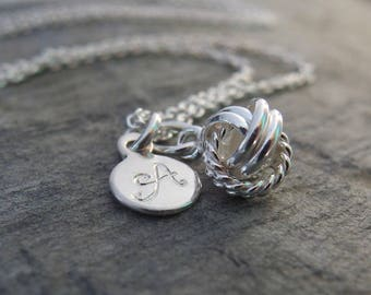 Friendship necklace Knot necklace Be my bridesmaid gift Personalized friendship necklace Love knot jewelry BFF jewelry best friend necklace