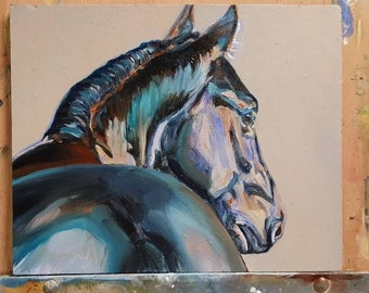 Original horse oil painting, Blue horse, seal bay horse, chestnut horse, dark horse, horse art, horse head painting, warmblood horse, equine