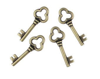 Brass Key Charms - Antique Brass Charms 22mm Brass Oxide TierraCast Pewter Bronze Key Pendant Drops - Steampunk Skeleton Key (PA5)