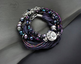 At night you can hear the heart - bracelet (set) with the silver, pearls and silk sari ribbon, unique jewelry, handmade, pmc jewelry