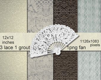 Textured Lace Vintage Digital Backgrounds with Fan Png