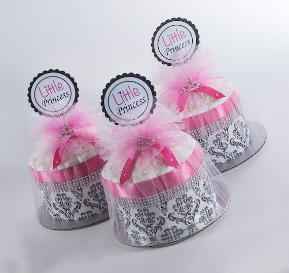 """Three  """"Little Princess"""" Hot Pink/Black Damask Mini Diaper Cakes. Baby Shower Centerpieces."""