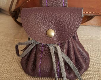 Plum leather purse from the belt