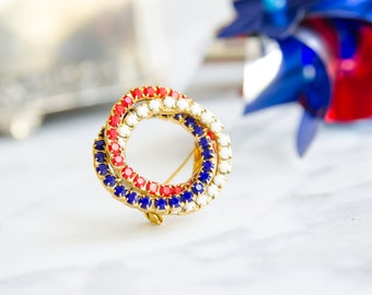 Vintage Patriotic Brooch - Red, White and Blue Pin - 1950s Fashion - Independence Day
