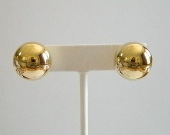 Large Gold Tone Ball Post Pierced Earrings