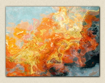 """Abstract expressionism canvas print, 24x32 to 40x54 gallery wrap giclee, from abstract painting """"Electric"""""""