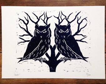 Owl Lino print, blue owl artwork, printmaking, lino cut, block print, wall art, letterpress, trees, symmetry