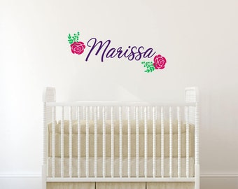 Girl Name Wall Decal, Flower Name Decal, Flower Wall Decal, Girls Nursery Decor, Girls Name Decal