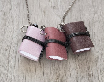 SET of 3 Mini book jewelry, tiny book pendant, miniature book necklace, journal necklace, leather literature necklace, christmas stocking