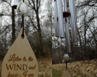 Hardest of Times Wind Chime Missing You I am Near 26 inch Custom memorial gift after loss memorial garden