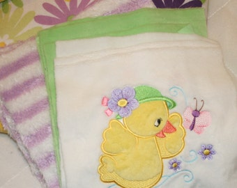 "Appliqued Duck Baby Blanket Kit ""Quack, Quack"""