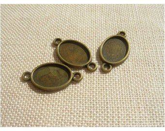 Set of 3 spacer brackets cabochons in bronze