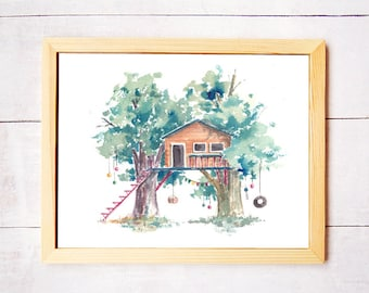 Treehouse Series 15 Watercolor Art Print - Digital Download