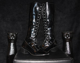 Black Listed-60's Style Black Vinyl Faux Lace-Up Go-Go Boots
