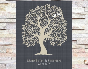 Custom Wedding Tree with Love Birds and Established Date, Wedding Couple, Wedding Family Tree Wall Art Print