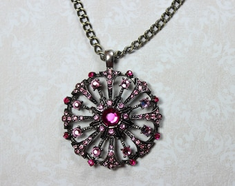 "Necklace - Handmade - Rhinestone Pink Circle Pendant - Antique Silver ""Right in my Hands"""