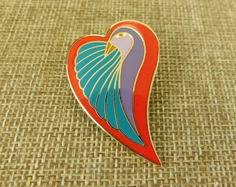 Laurel Burch Dove Heart Pin, Valentine Pin, Valentine Jewelry, Laurel Burch Jewelry, Dove Heart Pin, Laurel Burch Enamel Pin, Enamel Jewelry