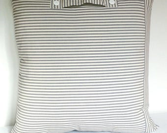 Gray and white striped pillow canvas 60 x 60