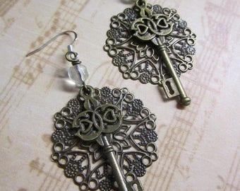 Delicate Metal Filigree Beaded Key Charm Dangle Earrings