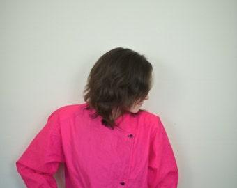 Vintage Pink Windbreaker | Michael Jackson Neon Hot Pink Double-Breasted Windbreaker