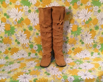 60s 70s Vintage Knee High Capezios Suede Boots 7