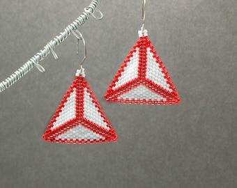 Triangle Earrings, Seed Bead Earrings, Red Earrings, Geometric Jewelry, Boho Earrings, Made to Order