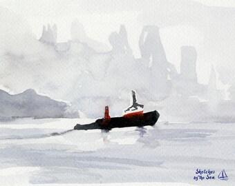Tugboat and Fog Watercolor Art Print