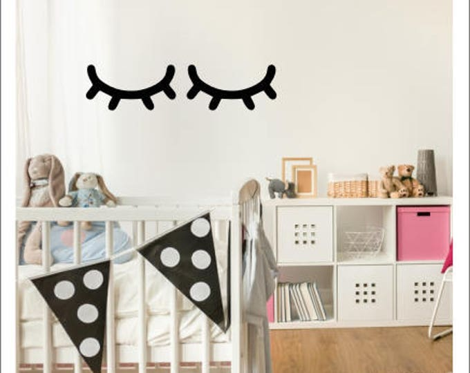 Sleepy Eyes Decal Vinyl Wall Decor Girls Bedroom Nursery Decor Trendy Modern Wall Decal Sleepy Eyes Sticker