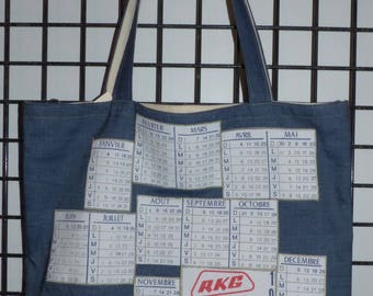 "bag denim calendar vintage ""1976"" doubled cotton green pinstripes"