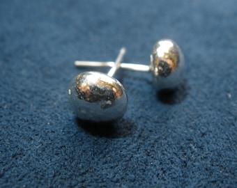 Solid Sterling Silver Droplet Stud Earrings