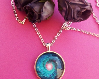Nebula Pendants,Universe Pendant,Silver Necklace,Jewelry,Planet,Stars,Glass,Green Universe,Gift for her,For mother's day,For birthday's day