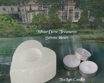 "SELENITE HEART Candle Holder ~ 3 Tea Light Candles 4x4"" Large ~ Selenite Crystal Heart ~ Romantic Decor"